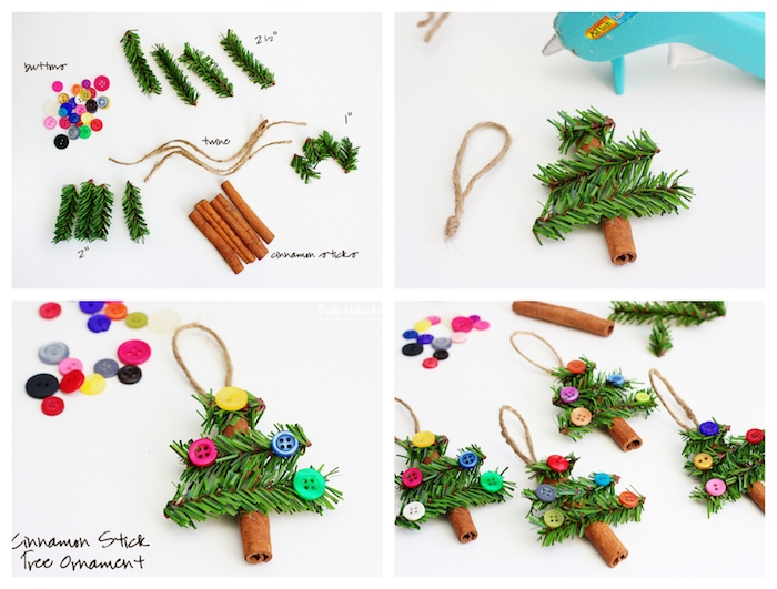 sapin de noel en baton de cannelle et des branches de pin artificielles vertes, deco de boutons colorés, fabriquer deco noel maternelle