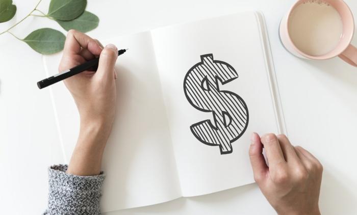 Dessin facile a faire etape par etape, dessins facile à faire belle image, le signe de dollar, beau dessin simple