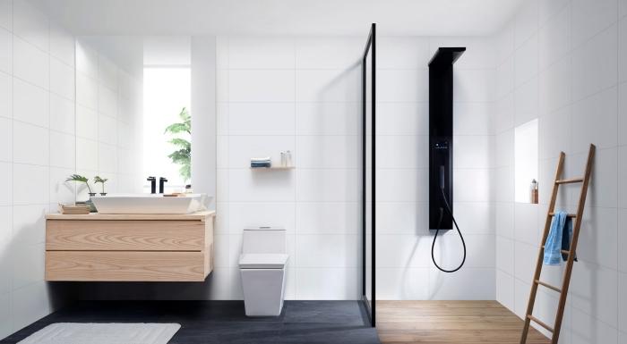 exemple de design intérieur moderne aux lignées épurées en blanc et noir avec meuble sous vasque en bois