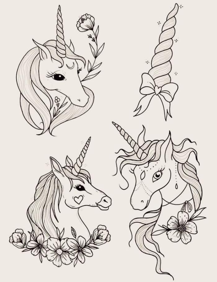 trois dessins de licornes avec cornes torsadées accompagnés de dessins de fleurs poétiques