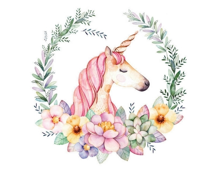 jolie image licorne en tons pastel avec crinière rose, yeux fermés et une jolie couronne florale qui ressemble à un écusson