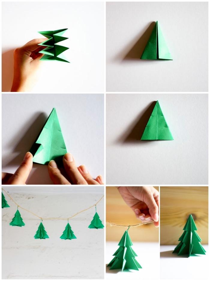 technique de pliage simple et rapide pour réaliser un sapin origami, guirlande de noël aérienne de petits sapins en papier origami