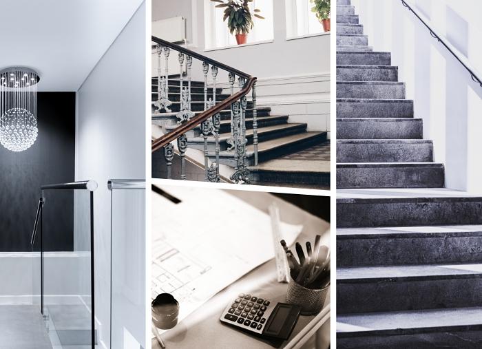 quel type d'escalier d'intérieur, modèle d'escalier droit en béton, exemple de rampe d'escalier en bois et fer peint en gris