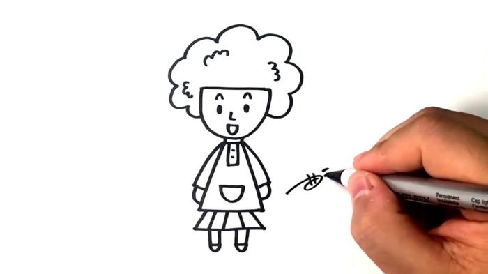 mère et enfant appendent comment dessiner une fille, idée dessin simple avec lignes droites et quelques lignes courbes