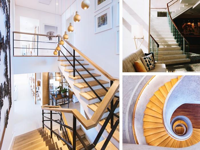 modèle d'escalier 2 4 tournant, quels matériaux pour un escalier moderne, exemple escalier avec rampe courante