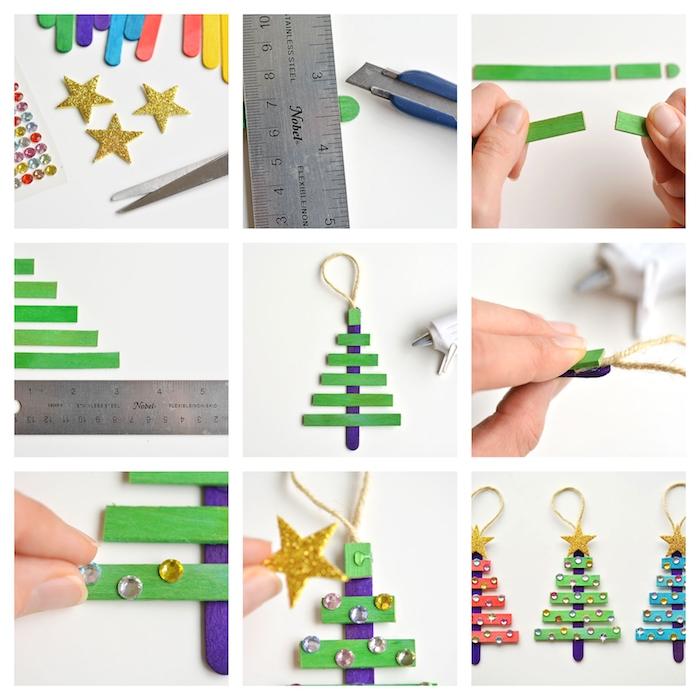 exemple de bricolage de noel maternelle, sapin de noel en batonnets de glace colorés et décorés de strass couleurs variées et étoile pailletée en top