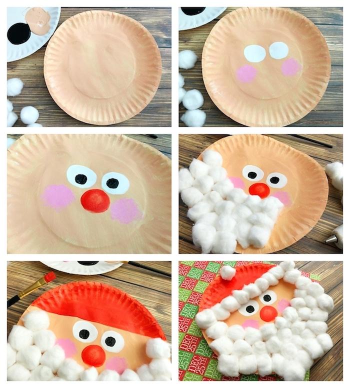 père noel en assiette de papier avecune barbe en boules de coton, dessin traits de visage à la peinture, activité manuelle noel facile