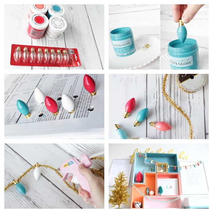 comment faire une guirlande de noel en guirlande pailletée et ampoules électriques miniatures colorées de peinture et attachées, décoration de noel à fabriquer pour adultes, bricolage noel adulte