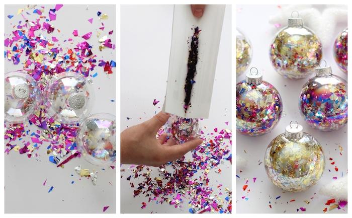 boules de noel transparentes personnalisées de confettis pailletées à l intérieur, deco noel fait main pour le sapin de noel original