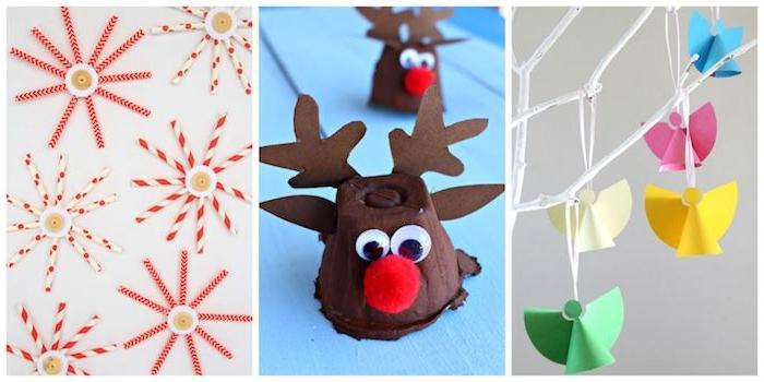 flacons de neige en pailles, rudolph en carton d oeufs et anges en papier coloré, décoration noel maternelle a faire soi meme