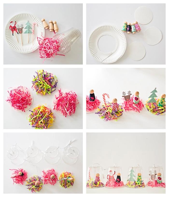 boule à neige diy enfant en gobelet de plastique avec un fond d assiette en papier, bandes de papier confettis, figurines de bois et decorations papier imprimés
