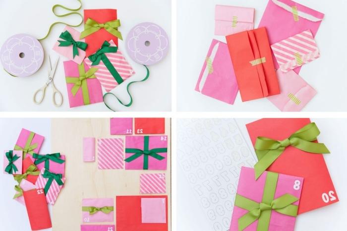 fabriquer un calendrier de l'avent original avec une planche de contreplaqué comme base et des pochettes cadeaux de tailles différentes