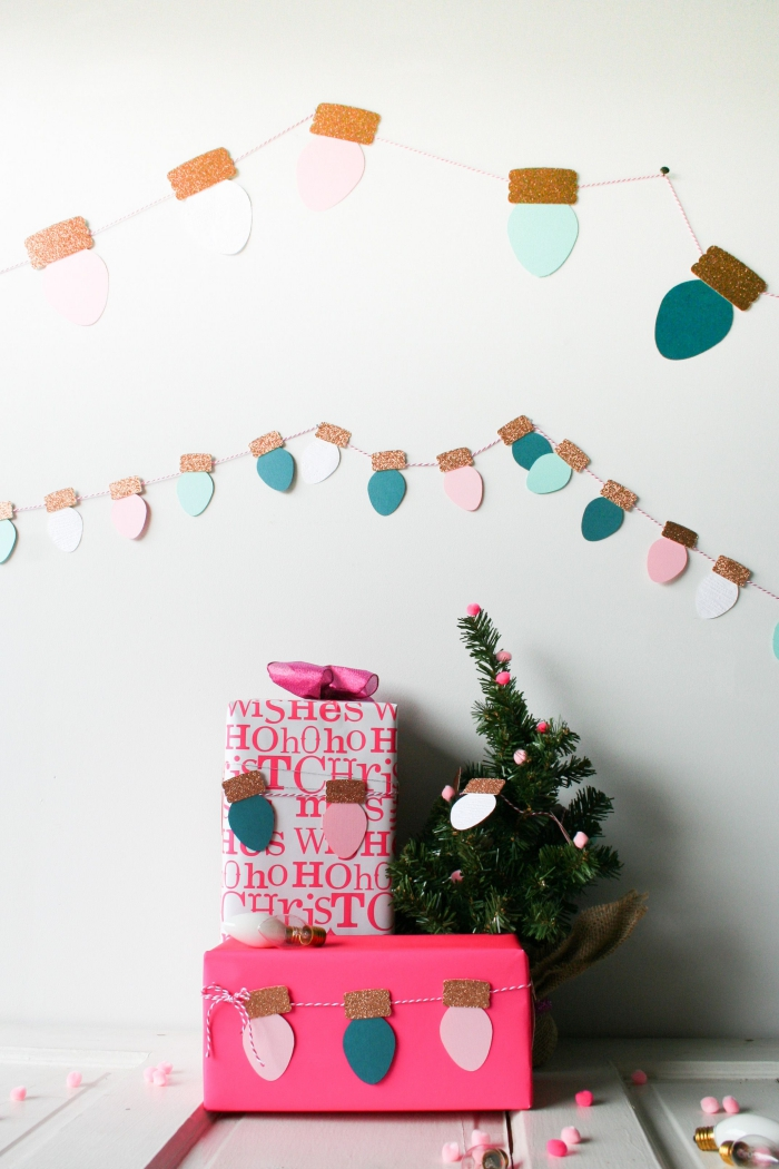 jolie guirlande de noël en papier de couleurs pastel imitant une guirlande d'ampoules, fabriquer deco noel en papier