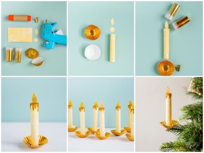 réaliser des fausses bougies en papier jaune et or pour décorer le sapin de noël d'une façon originale