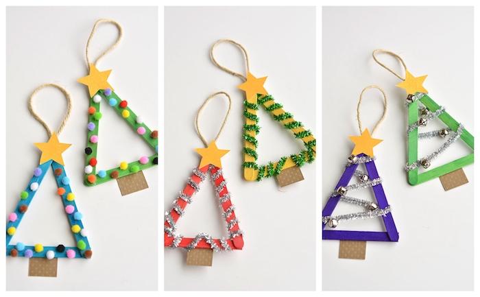 modeles sapin de noel en bois, batonnets de glace colorés et décorés de pompons, cure pipe et clochettes avec étoile papier jaune en top