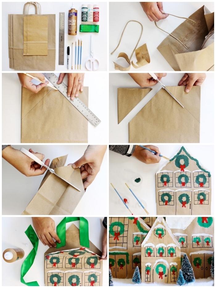 réaliser un village de noel avec des maisons faites à partir des sac en papier kraft personnalisés, deco de noel maison avec des matériaux de récup