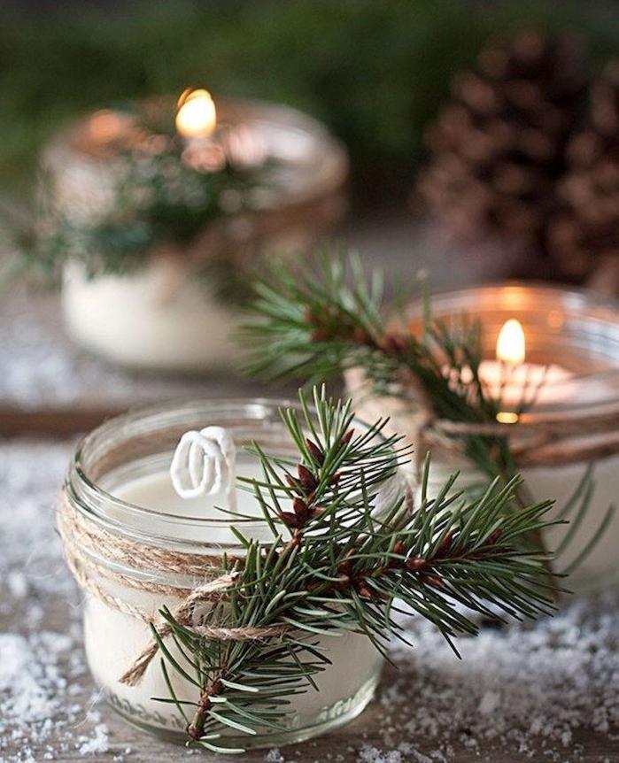 comment faire des bougies dans un pot en verre décoré de branche de pin et ficelle de lin, deco noel a faire soi meme