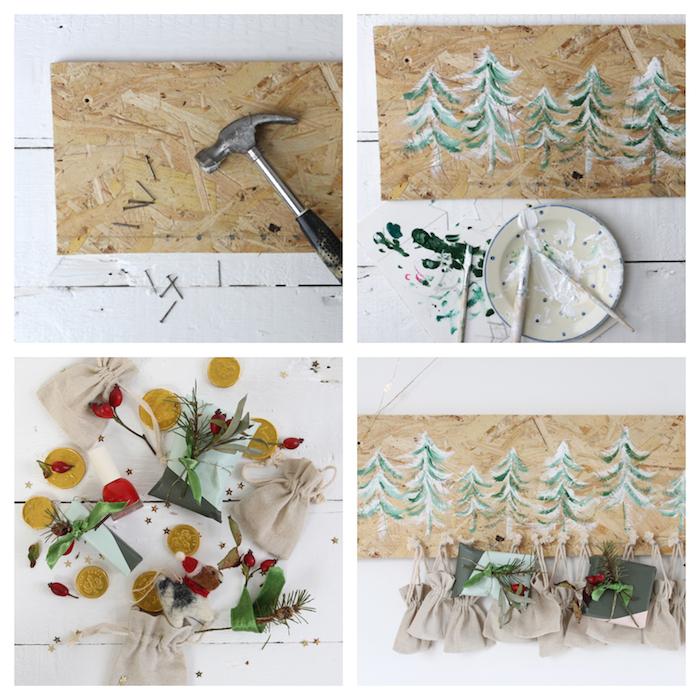 planche bois clair avec dessins sapin de noel en peinture verte et blanche accrochée sur un mur avec de petites sachets surprise suspendues, modele de calendrier de l avent fait main