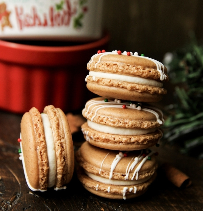 idee de recette macarons gingembre avec crème, dessert de noel original en pain épice, gourmandise de noel