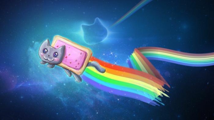 Chat adorable avec une trace arc en ciel, idée quel fond d écran choisir, les plus beaux fonds d écran fille