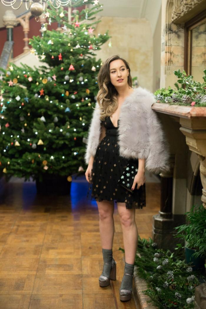 Robe pour les fetes de fin d année, tenue de fête femme toujours bien habillée avec veste fausse fourrure