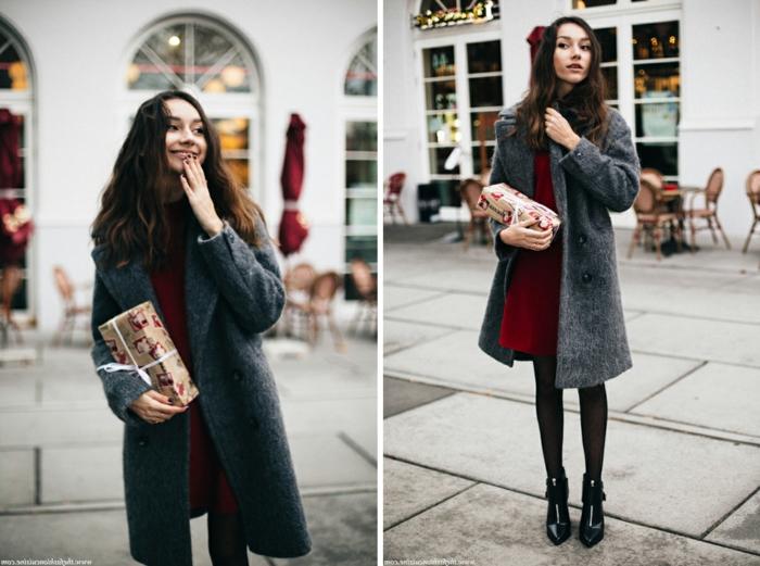 Tenue habillée femme ou tenue décontractée chic femme beauté inspiration, manteau longue gris et robe courte rouge