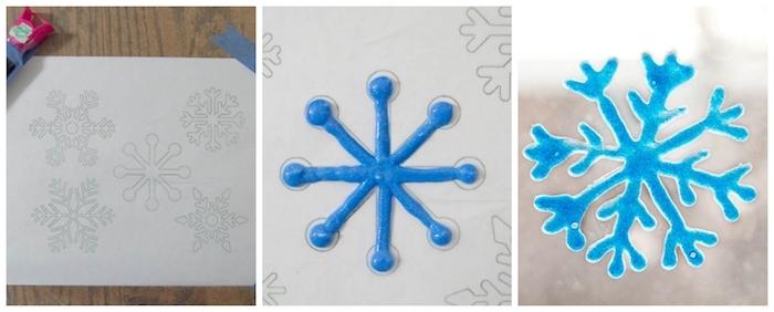 deco de fenetre fait main avec de la peinture 3d, comment fabriquer un flacon de neige original, activité enfant maternelle