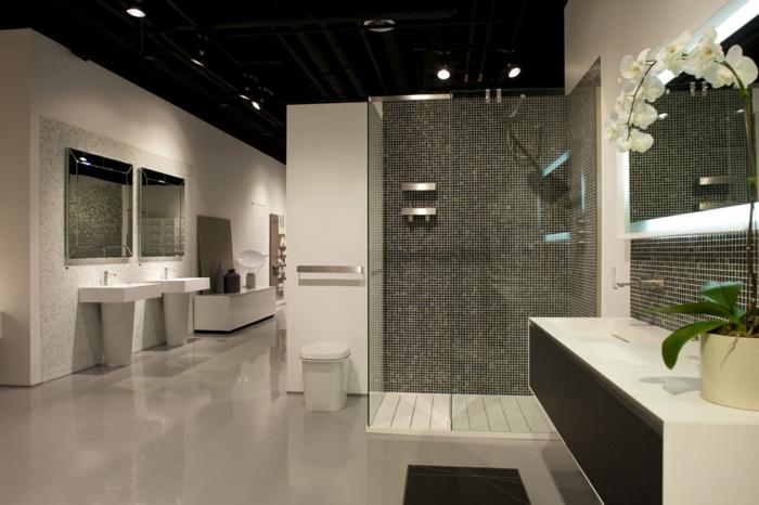 salle de bain en gris et blanc, deux vasques colonnes blanches, orchidée blanche, meuble suspendu, espace de douche ouvert