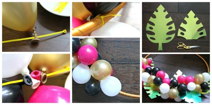 tutoriel pour arche de ballons pour déco d'une fête, arche de petits ballons rassemblés et de feuilles découpées en papier