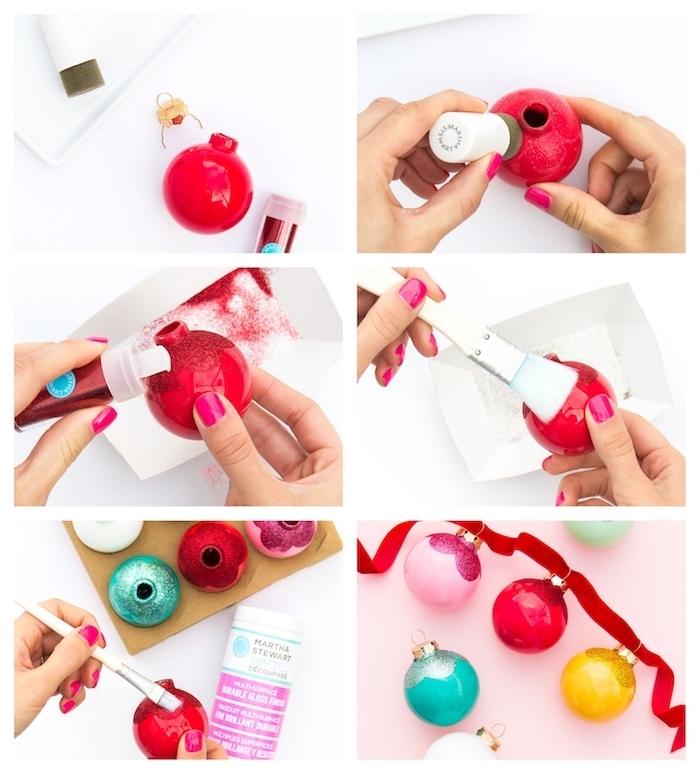 guirlande de boules de noel en pommes de pin colorées avec motif pailleté sur un ruban rouge, deco noel maison
