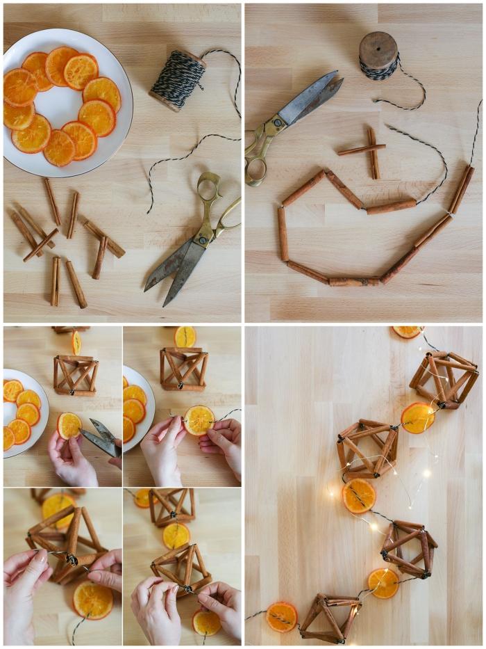 bricolage noel facile pour pour réaliser une guirlande de noël de tranches d'orange séchées et de cannelle,