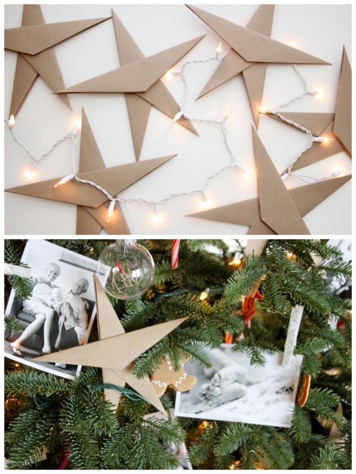 décoration de sapin traditionnelle de guirlande lumineuse led et de grandes étoiles en papier kraft pliés à la main, comment réaliser facilement une étoile origami noel