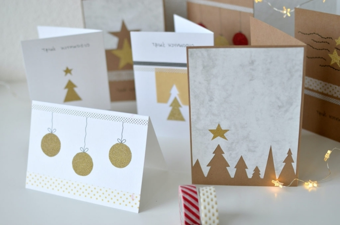 magnifiques modèles de cartes DIY, exemple de carte de voeux noel stylée en couleurs blancs et or avec ornements de noel en papier doré