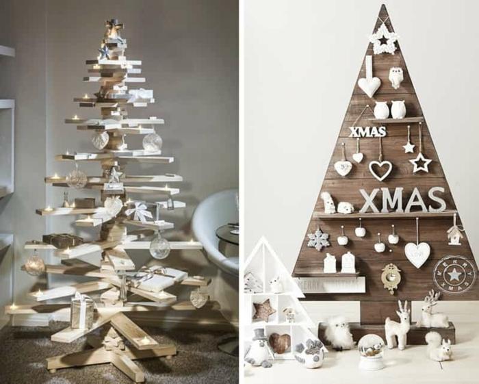 jolis idées de sapins en bois, en planches de bois, jouets blancs et étoiles décoratives accrochées, sapin avec petites étagères, figures décoratives blanches