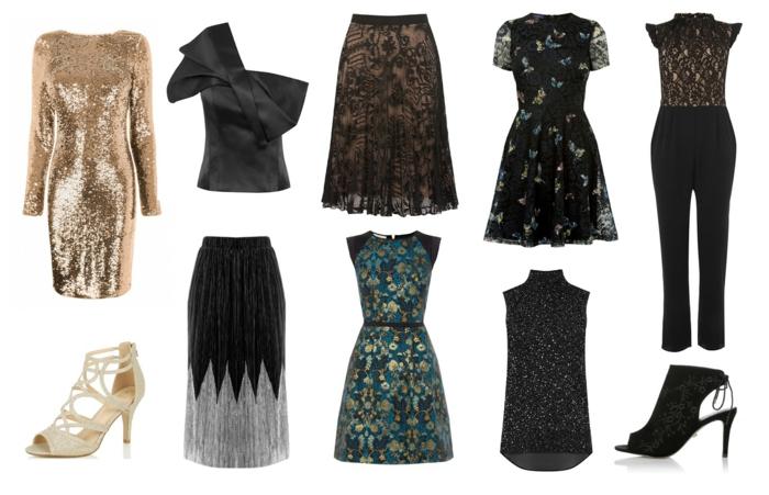 robe glamour couleur dorée, top asymétrique, jupe dentelle noire, sous jupe nude, sandales couleur champagne