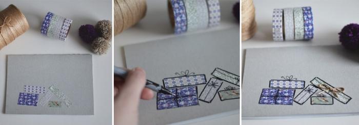 tutoriel facile pour décorer une carte de Noel, cadeaux de Noel en ruban adhésif sur un papier coloré gris, technique décoration papier