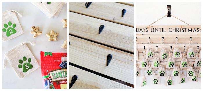 calendrier de l avent animal de compagnie chien, palette de bois avec petits sacs en jute suspendus avec des crochets pour accrocher des biscuits pour chien