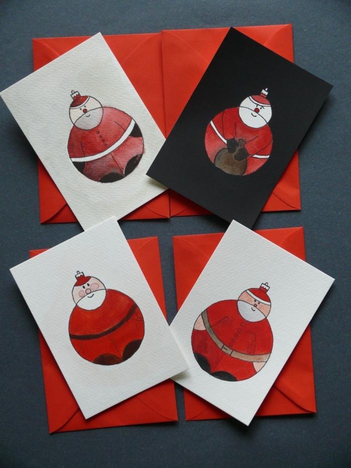 bricolage noel maternelle, comment décorer une carte vierge pour noel, exemple de carte DIY à dessin père noel