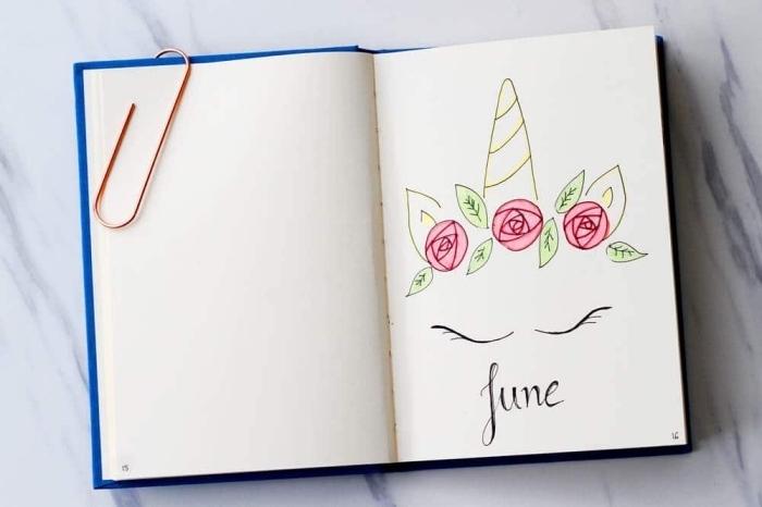dessin facile licorne aux yeux fermés avec couronnes de roses qui orne la page d'un agenda, idée pour personnaliser son journal d'art ou son agenda