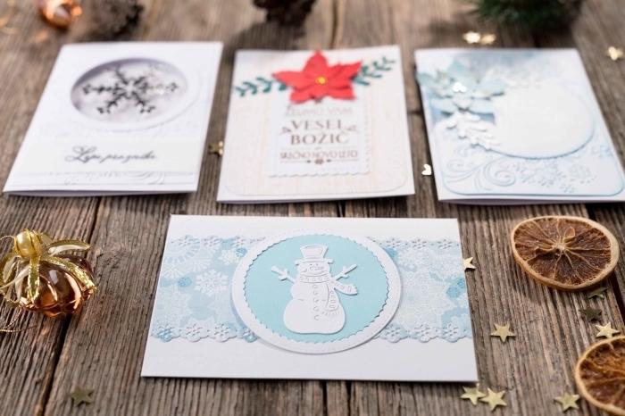 modèles de carte de noel a faire soi meme facile, papier scrapbooking décoré avec figurine bonhomme de neige en papier blanc