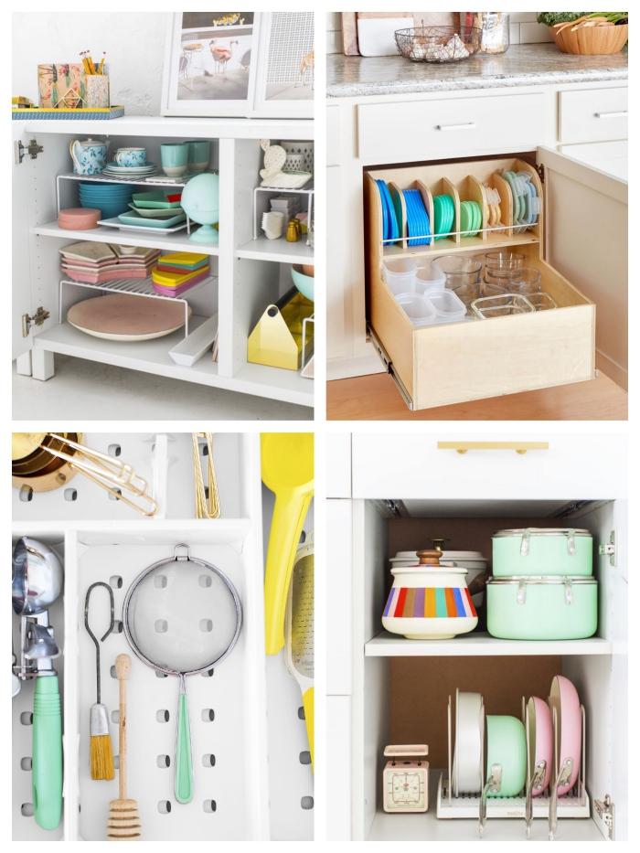 astuces de rangement pour mettre de l'ordre dans ses placards de cuisine et ses tiroirs en y installant des organisateurs et des range-ustensiles à compartiments, un organisateur placard cuisine à plusieurs niveaux pour ranger les ustensiles et la vaisselle de cuisine