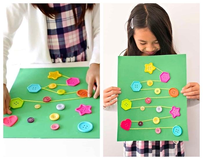 decoration de noel fait main maternelle, sapin de boutons colorés collés sur papier et de fils de laine qui s entrecroisent