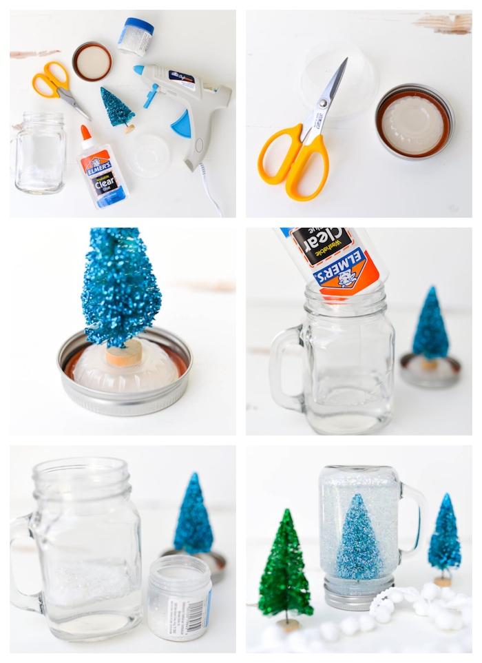 fabriquer boule à neige originale avec neige artificielle et figurine sapin de noel artificiel avec glycérine, idee deco de noel a faire soi meme