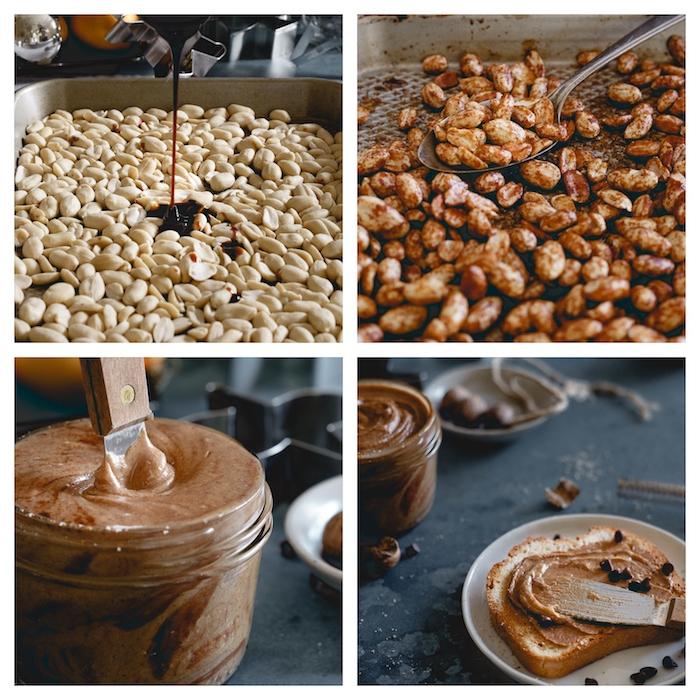 petit déjeuner en beurre de cacahuètes avec de la mélasse, cannelle et sucre de coco sur une tartine