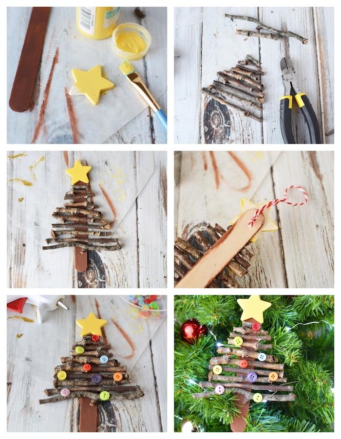 mini sapin de noel rustique en batonnets de glace et des brindilles de tailles variées, étoile de bois, bricolage maternelle pour noel facile