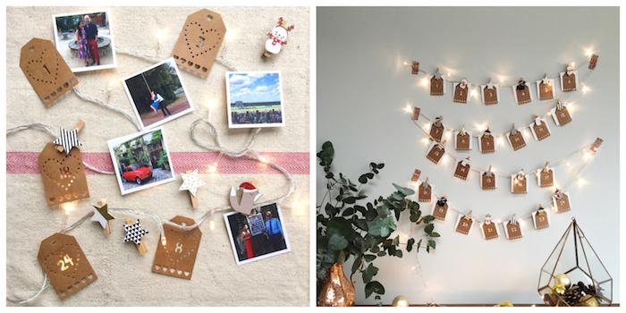 decoration murale de noel en guirlande lumineuse aux photos accrochées derrière étiquettes papier kraft sur un mr blanc, calendrier de l avent personnalisé