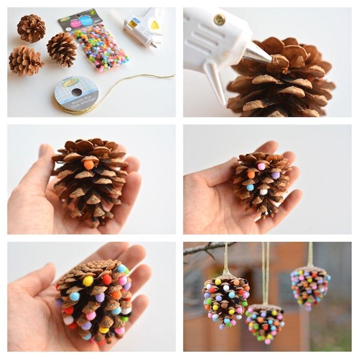 que faire avec des pommes de pin, decorations de noel à fabriquer soi même en pomme de pin décorée à petites boules de feutrine