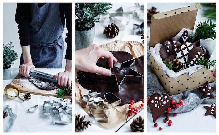 recette pain d épice avec gingembre et cacao, biscuit de noel en formes festives et glaçage blanc, décoration réalisée avec du glaçage motif pochoir