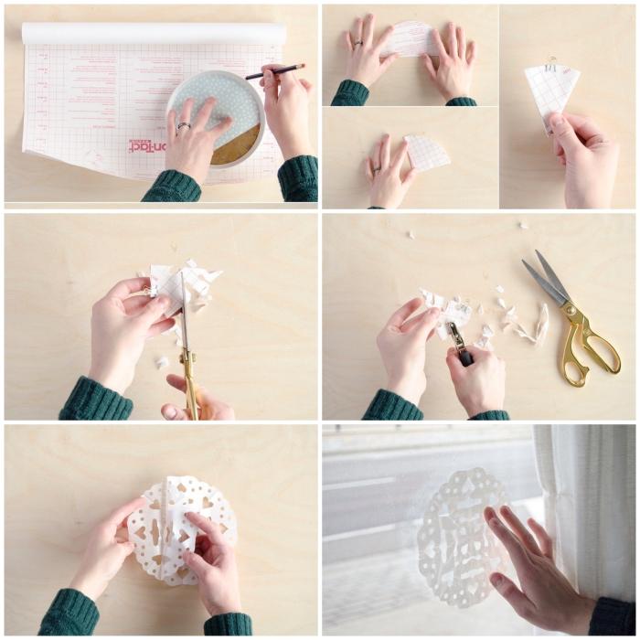 le pas à pas pour réaliser des flocons de neige découpés en papier adhésif qui ornent