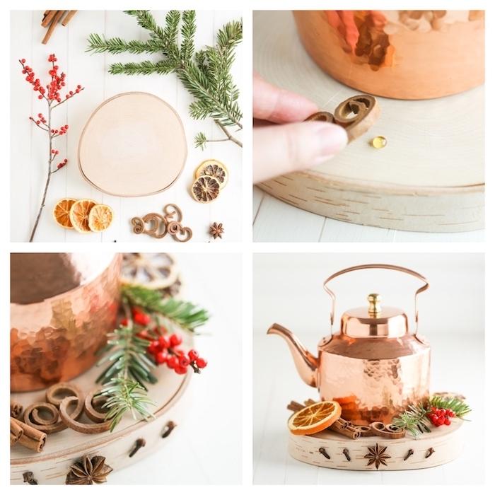 decoration de table de noel a faire soi meme, théière cuivre sur un rondin de bois décoré de batons de cannelle, tranches d orange, houx et branches de pin